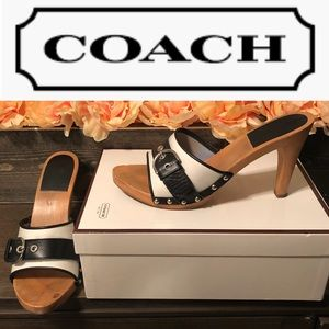 Coach Jackie Black & White w/buckle Heels - size 8